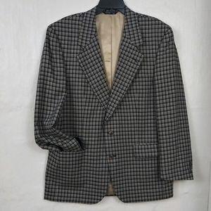 HOST PICK! Burberrys Wool Blue Tan Plaid Suit Coat